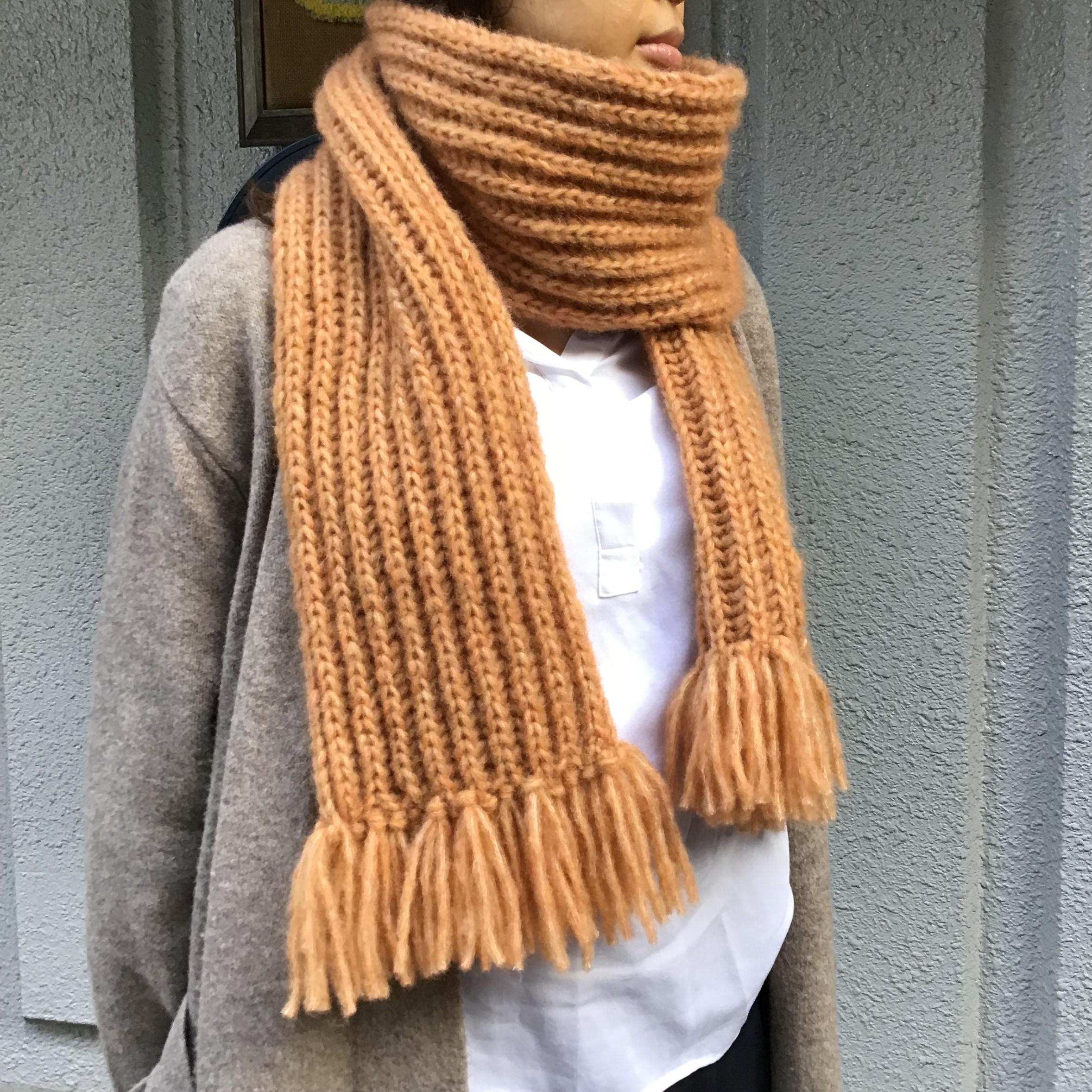 イギリスゴム編みのマフラー